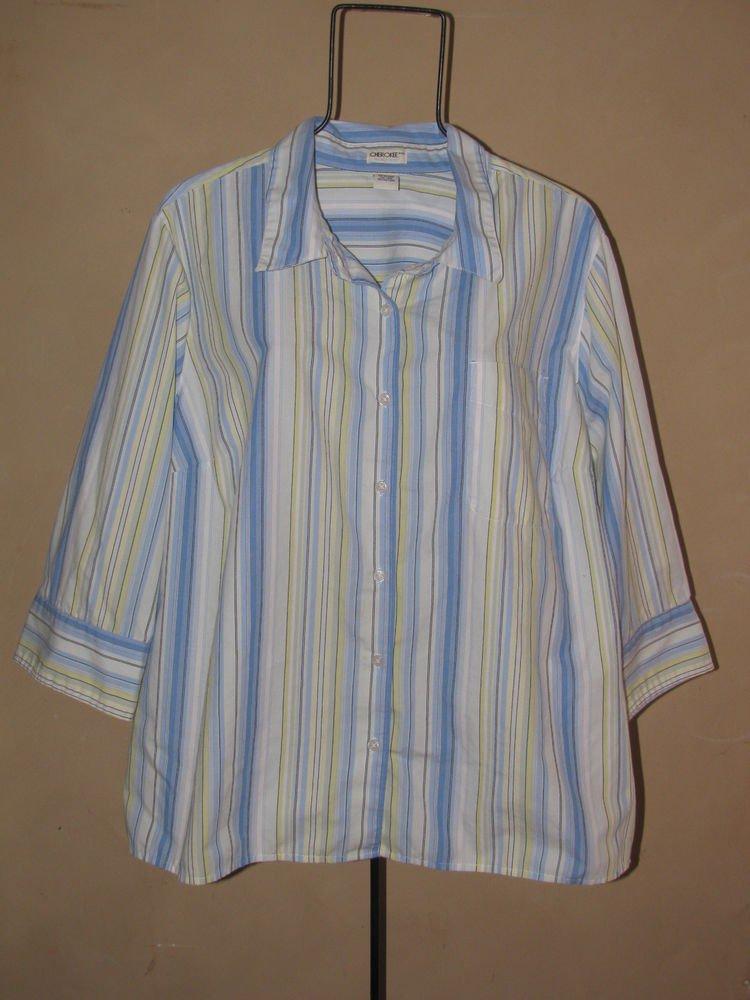 Womens Plus Sz 24 Cherokee 3/4 Sleeve Button Front Top/Blouse EUC