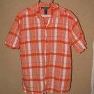 Mens Sz M New Gen S/S Button Front Linen Blend Shirt