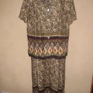 Womens Sz 12 Miss Dorby 2 Pc Animal Print Dress EUC