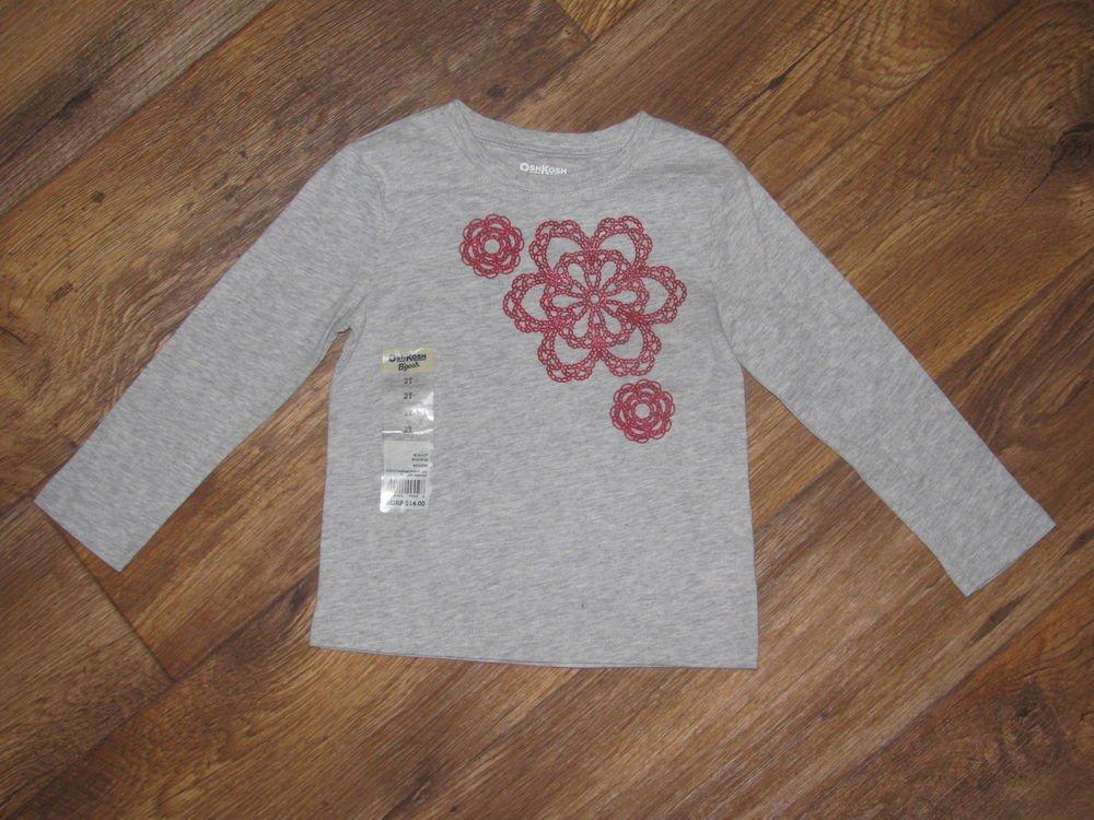 New Girls Sz 2T Oshkosh L/S Grey Top T-shirt