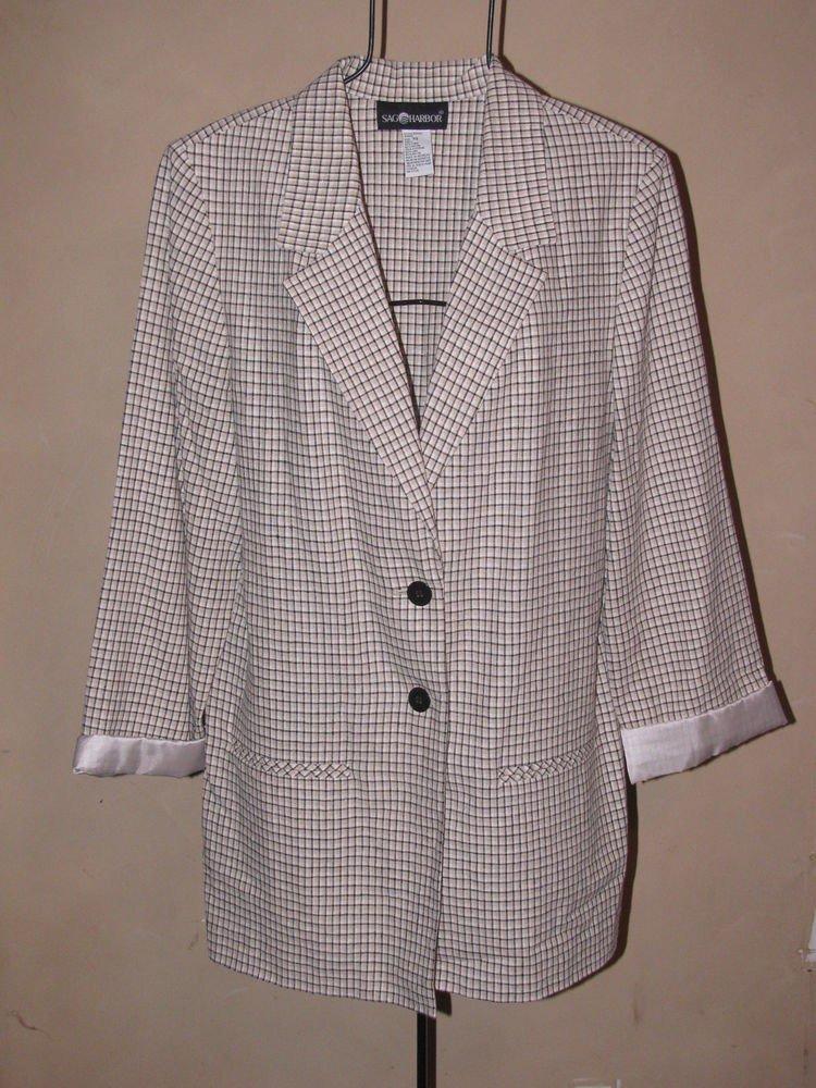 Womens Sz 14 Sag Harbor Linen Blend Jacket/Blazer EUC