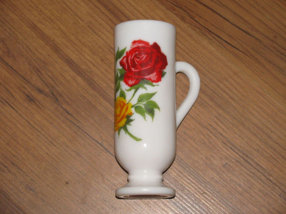 Vintage Avon Milk Glass Cup/Bud Vase with Red and Yellow Roses