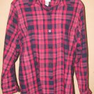 Womens Sz 14 Alfred Dunner L/S Pink Plaid Button Front Blouse EUC