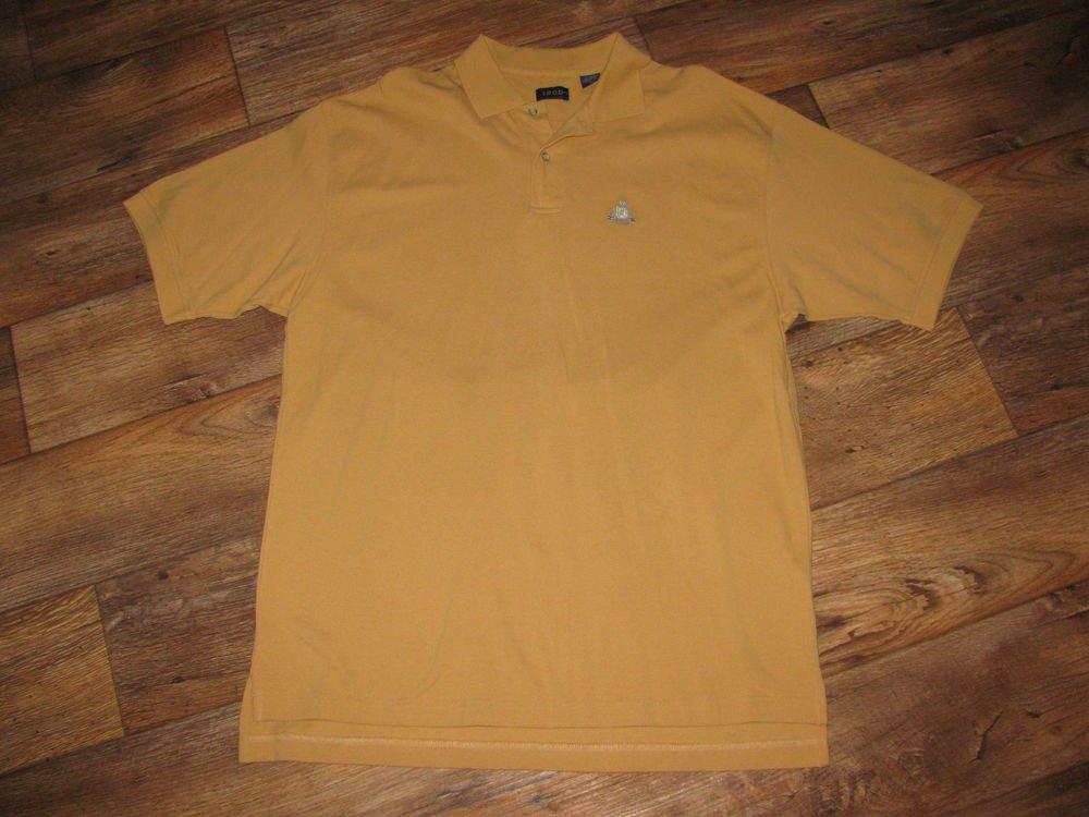New Mens Sz L Izod Yellow S/S Polo Shirt