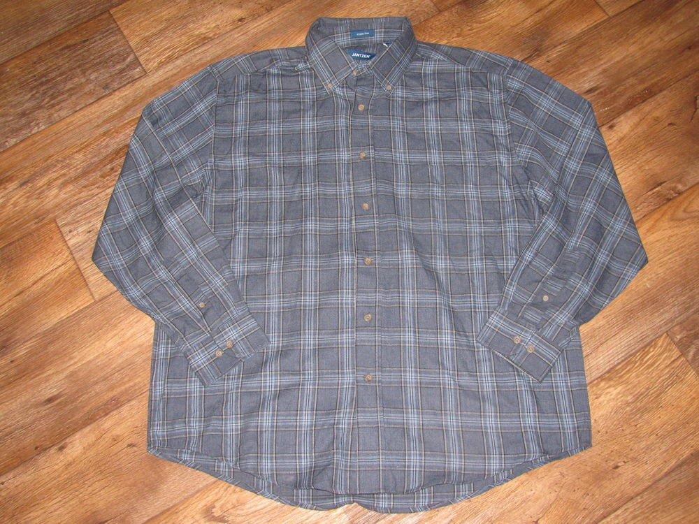 New Mens Sz M Jantzen L/S Button Front Blue 1 Pocket Wrinkle Free Shirt