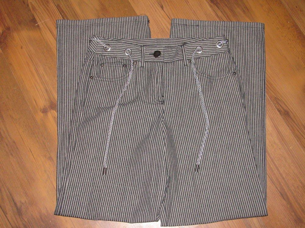 Womens Sz 4 Larry Levine Spt Pinstripe Jeans EUC