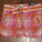 New Girls Sz 4T U.S. Polo Assn. Orange/Pink/White Plaid Shorts w/Belt