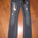 New Junior/Jr Sz 1 YMI Bootcut Iconic Silhouette Big Stitch Blue Jeans w/Bling