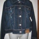 New Womens Plus Sz 3X Amethyst Jeans Distressed Blue Jean Jacket w/Rhinestones