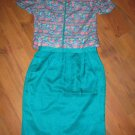 Stunning Sz 16 Green 100% Silk Adrianna Papell 2 pc Womans Suit EUC