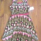 New Girls Sz 7/8 Pinky Sleeveless Hot Pink and Green Dress w/Belt
