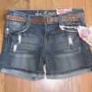 New Jr. Sz 5 Wallflower Cuffed Distressed Back Flap Blue Jean Shorts w/Belt