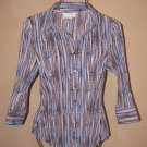 Womens Sz S Fred David Stretch Button Front Crinkle Blouse EUC