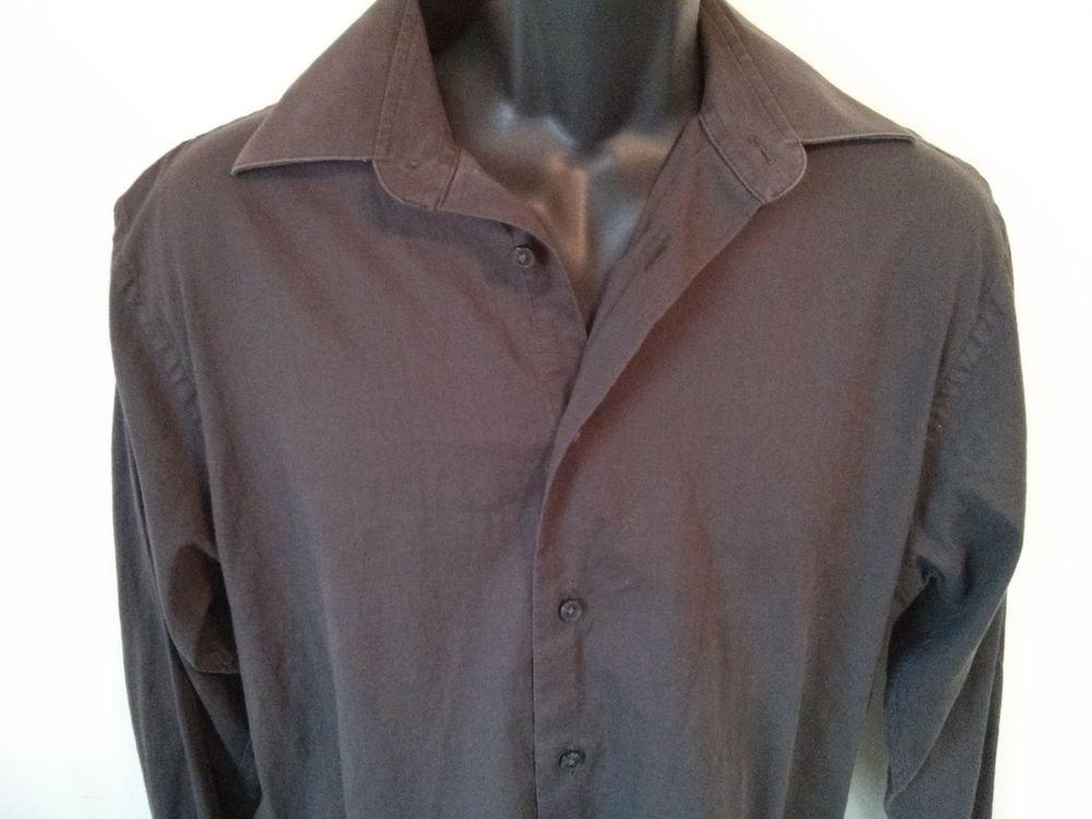 Calvin Klein Shirt 15 1/2 Mens Lastol 32/33 Brown Button Front Long Sleeve Size