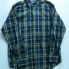 Wrangler Western Men Shirt Plaid Blue Green Small Hero Button S Long Sleeve Size