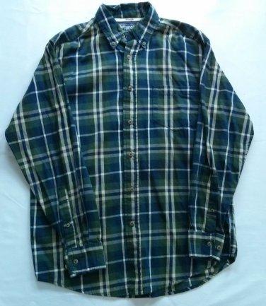 Wrangler Western Men Shirt Plaid Blue Green Small Hero Button S Long Sleeve Size