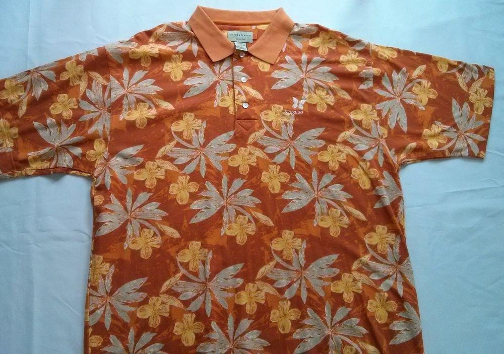 Cutter And Buck Orange Short Sleeve Polo Mens Shirt Golf Size Hawaii L Large
