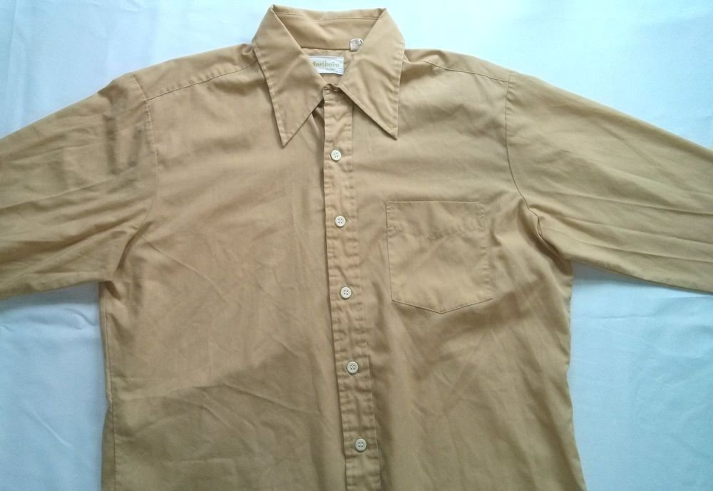 Marlboro Dress Shirt Vintage Yellow Gold Button Long Sleeve Large Size 16 1/2 L