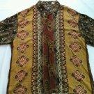 Moda Mondo Floral Southwestern Brown Mens Shirt X L Large Long Sleeve Size XL