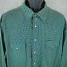 Green Wrangler 2XT Western Shirt Pearl Snap Plaid Mens 2XL XXL Tall 2X 2 X Man