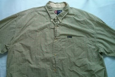 Chaps 3XB Green Long Sleeve Shirt XXXL Large Dress Casual Plaid Men 3X 3XL Tall