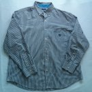 XL Chaps Blue Stripe Striped Mens Shirt Button Up X Large Easy Care Long Sleeve