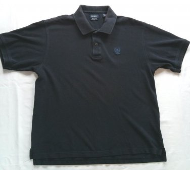 Izod Blue Large Mens Polo Shirt Silk Wash Golf Casual Short Sleeve L Logo Button
