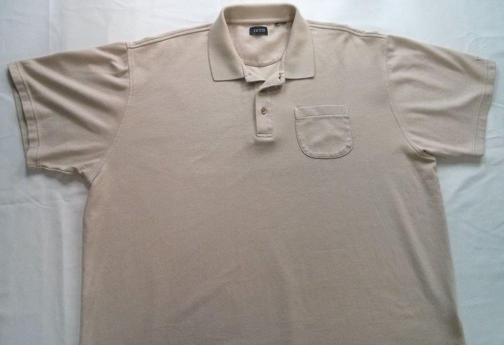 Izod 2X Mens Polo Shirt Tan Beige Golf Casual Short Sleeve XXL 2XL Large Check