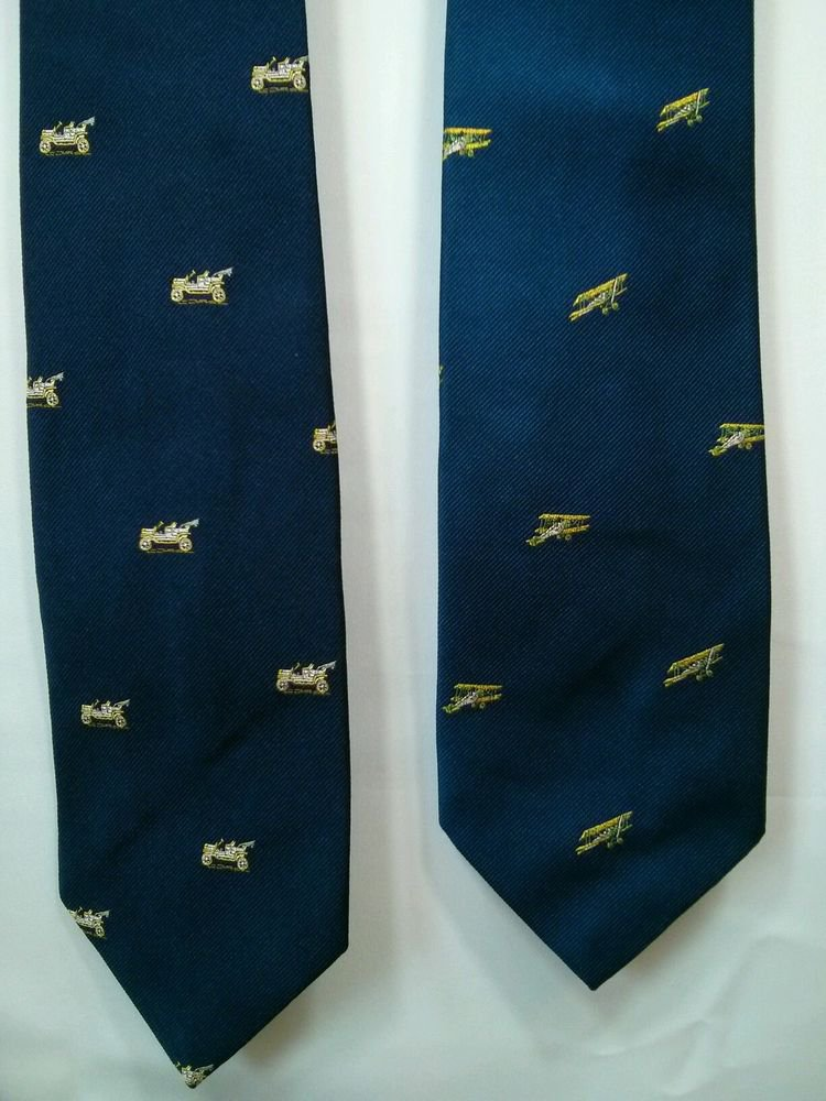 Men's Ties Lot Of 2 Old Time Car Design Navy Blue Chelsea Collection NY Bi Plane