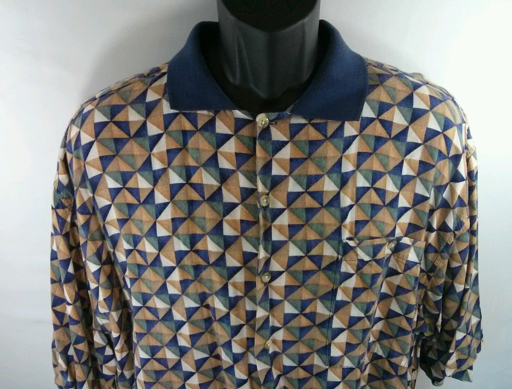 Pierre Cardin XL Hawaiian Shirt 100% Rayon Blue Triangle Diamond Pocket Mens