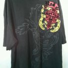 Red Ape 5X Flocked Cross MMA Black Embroidered  Yellow Big Men's Shirt