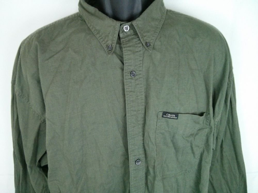 Chaps Shirt Men's Green Olive X-Large XL Army Military 100% Cotton