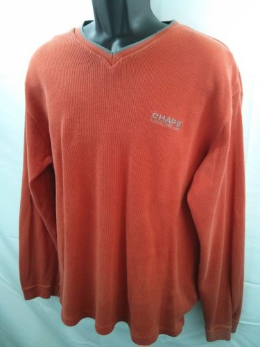 Orange Chaps Men's Thermal By Ralph Lauren L Casual Sweatshirt Sweater Large L