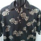 Silk Icon Men's Shirt Tropical Hawaiian Beach Silk Black Pineapple Surf Medium M