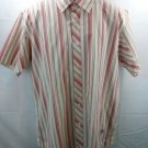 Rig Men's Shirt Pink White Stripe Utility Clothing Oxford Cotton L 42 Large Zip