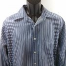 Chaps 60% Cotton Mens Shirt Blue Stripe Striped Wrinkle Free 15 1/2 34/35 M
