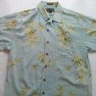 Weekender 70% Silk Mens Hawaiian Shirt Blue Tree Flower Wood Buttons Finest M