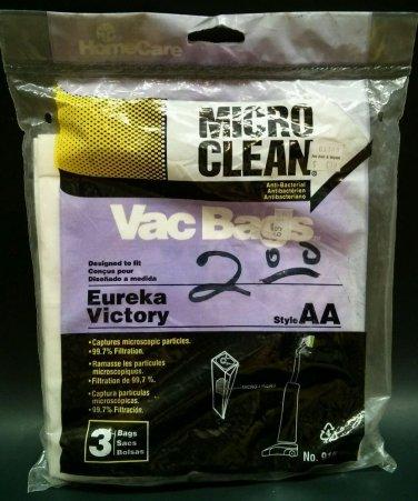 Micro Clean Vac Bag Eureka Victory AA Style 3 Bags No 915