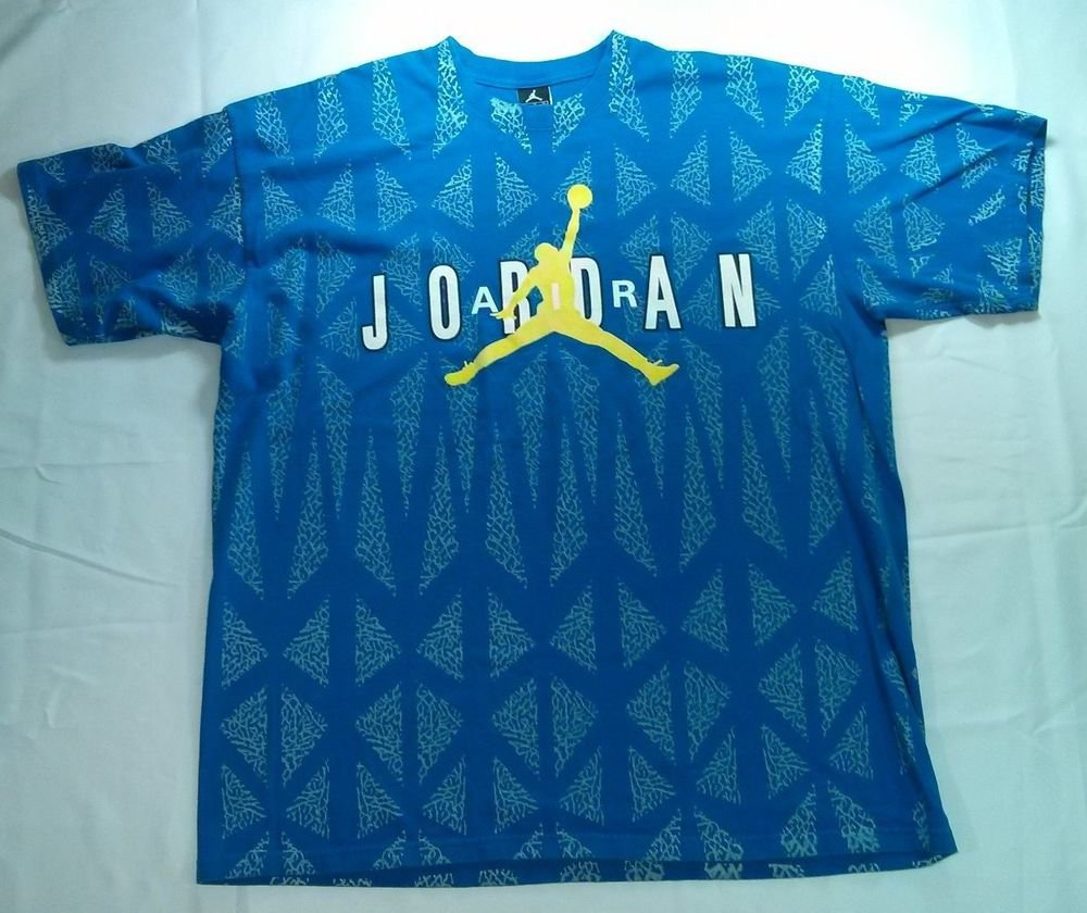Michael Nike Air Jordan T Shirt 90s 1990s Blue White Yellow XL X Large Vintage