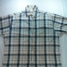 Wrangler Hero Mens Button Front Short Sleeve Shirt Blue Plaid Check Large L LRG