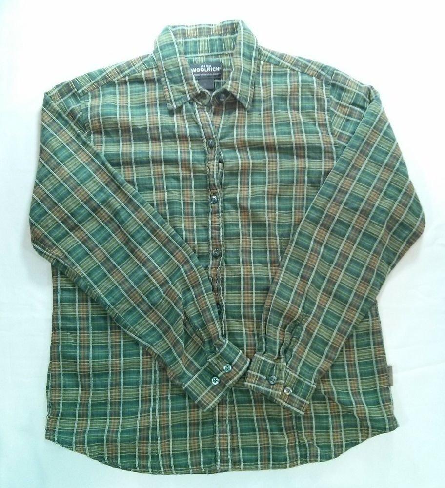Woolrich Long Sleeve Womens Plaid Shirt Medium M Green Check Button Front Ladies
