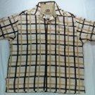Echo Unltd Woven Shirt Brown White Plaid Short Sleeve Button Front Mens Large L