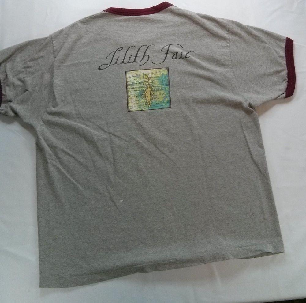 1997 Lilith Fair Tour Logo Grey Ringer T Shirt Large X L XL X Large Concert 90s