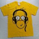 The Simpsons Homer New NWT Wearing Headphones Yellow T Shirt Tee Shirt M Medium