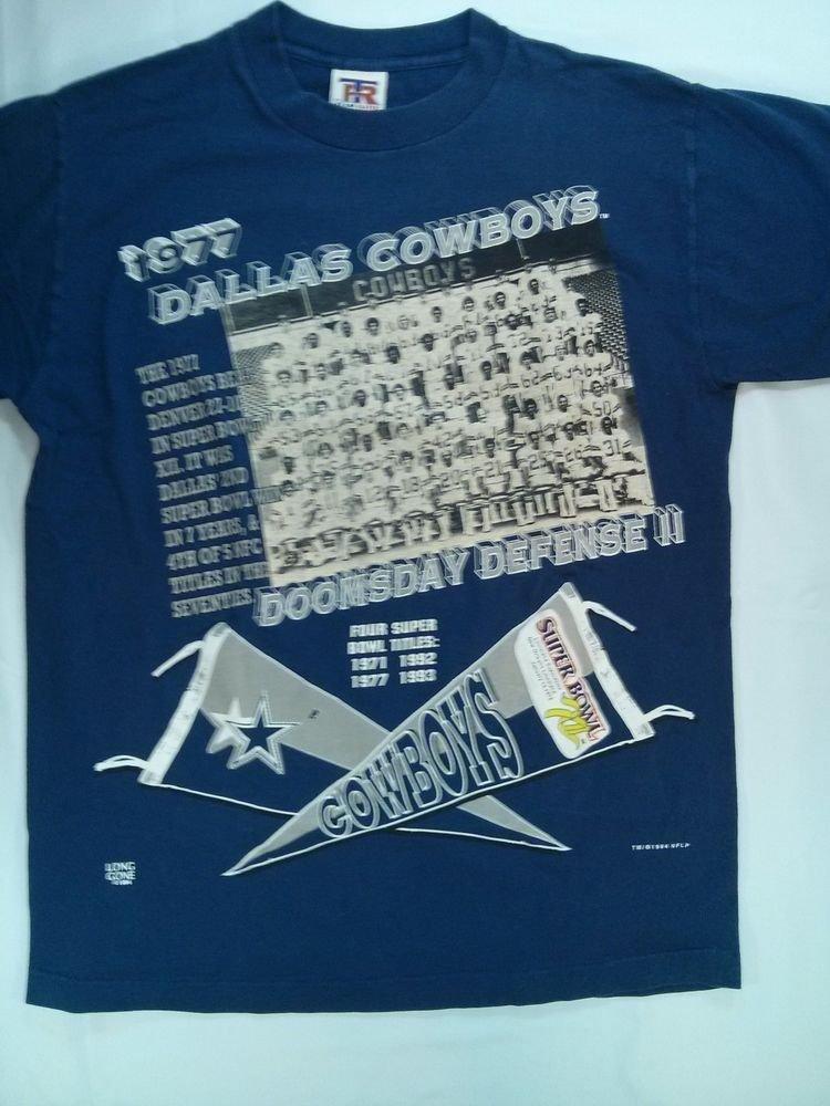 Medium T Shirt Dallas Cowboys 1994 Four Super Bowl Titles M NFL Blue NFL