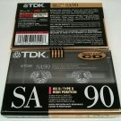 TDK SA90 90 Minute Super Avilyn TypeII VTG 90s New Blank Audio Cassette Tape 2pk