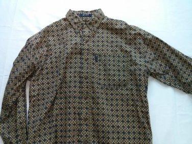 Chaps Mens Shirt Medium M Diamond Check Woven Green Blue Logo Long Sleeve Button