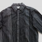 Fender Mens Shirt Long Sleeve Pin Stripe Button Black Skull Tattoo Medium M