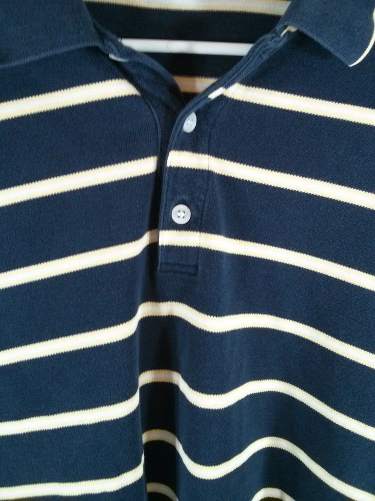 Cutter & Buck Long Sleeve Men's Shirt XL Pima Cotton Blue Yellow White Stripe