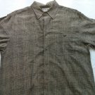 Ron Chere Skin Washable Linen Large L Gray Hawaiian Mens Shirt Plaid Camp Golf